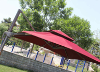 2.5m Mini Roma Cantilever Garden Umbrella With Marble Base , Red Double Layer