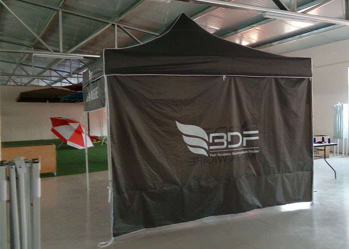 Commercial Grey 3x3 Waterproof Pop Up Gazebo With Side Panels , Digital Print