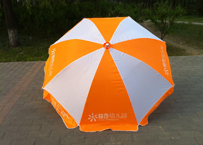 Large Outdoor Sun Umbrellas Orange And White With Powder Coated Ribs