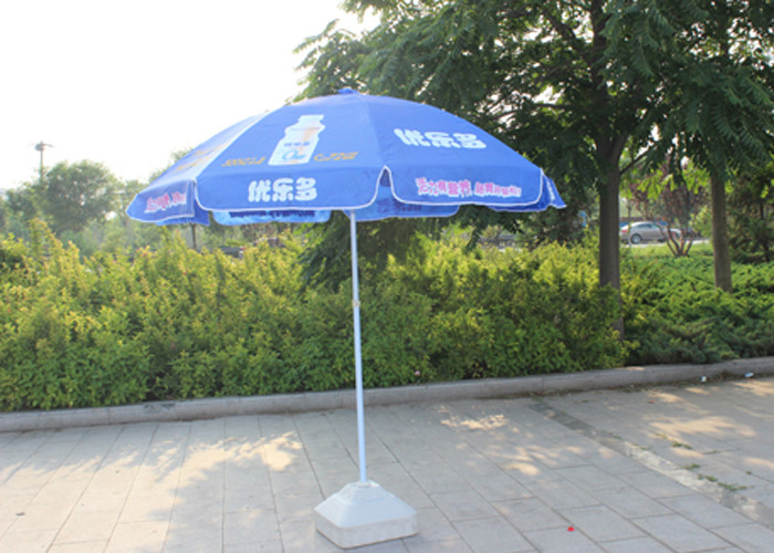 Easy Open Slogan Round Outdoor Umbrella , Strong Colorful Beach Umbrellas