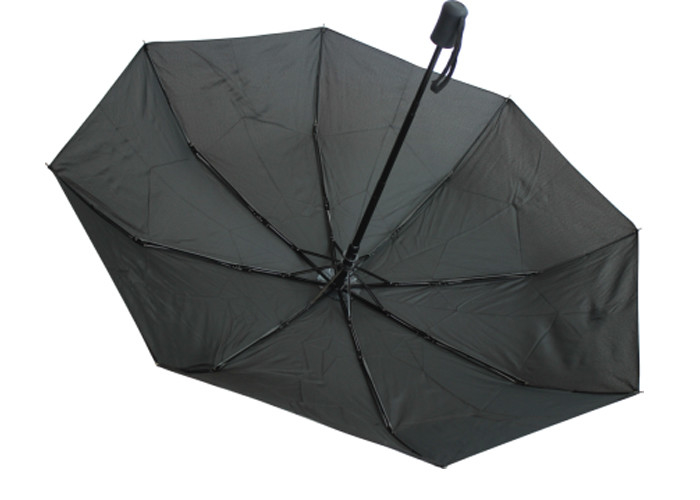 "21""X 8 Panels Black Manual Open Umbrella With Black Coated Shaft , Plastic Handle"