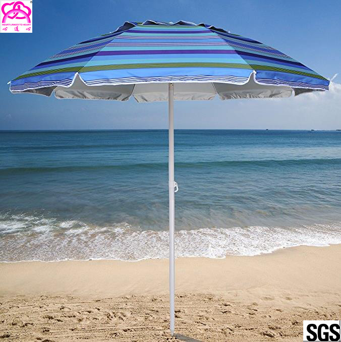 Steel Frame Outdoor Parasol Umbrella UV Protection For Sandy Beach Sunshade